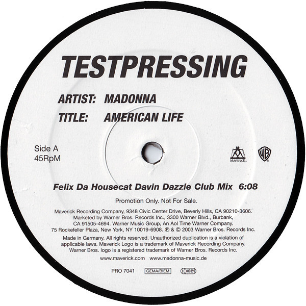 AMERICAN LIFE MAXI 45T TEST PRESSING  EUROPE /MADONNA-CD-DISQUES-RECORDS-BOUTIQUE VINYLES-SHOP-STORE