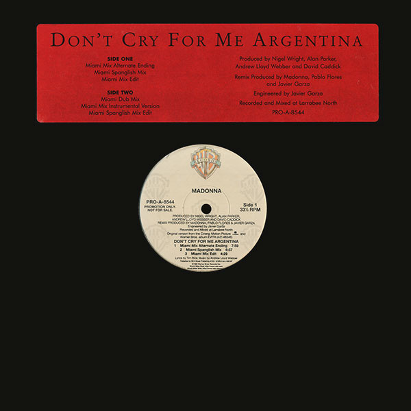 DON'T CRY  FOR ME MAXI 45T SAMPLER USA / MADONNA-CD-DISQUES-RECORDS-BOUTIQUE-SHOP-LPS