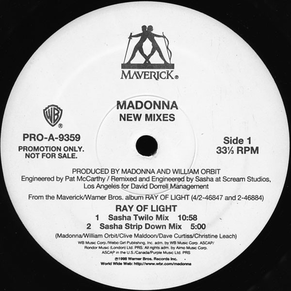 RAY OF LIGHT MAXI 45T SAMPLER USA / MADONNA - CD - DISQUES - RECORDS -   VINYLES