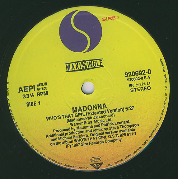 WHO'S THAT GIRL  MAXI 45T  GRECE  / MADONNA-DISQUES-RECORDS-VINYLES-SHOP-BOUTIQUE-CD