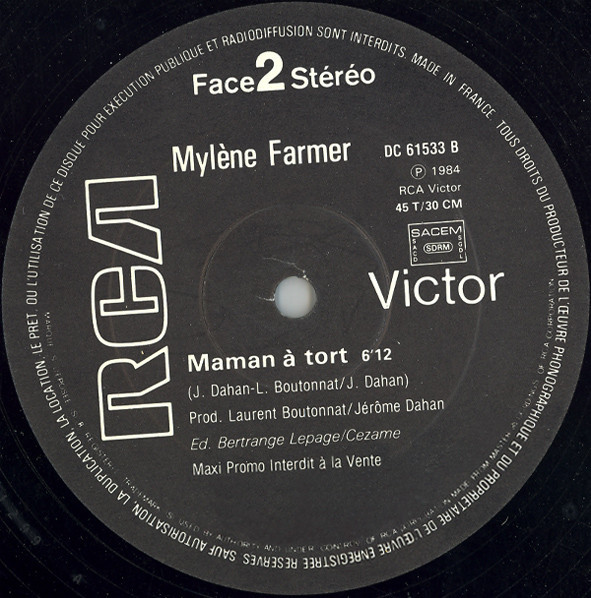MAMAN A TORT 12 INCHES SAMPLER/ MYLENE FARMER - RECORDS - DISQUES - VINYLES - CD - SHOP