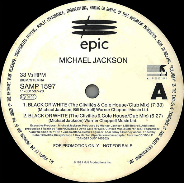 BLACK OR WHITE 12 INCHES MAXI SAMPLER  EUROPE / MICHAEL JACKSON  - CD - RECORDS -  BOUTIQUE VINYLES