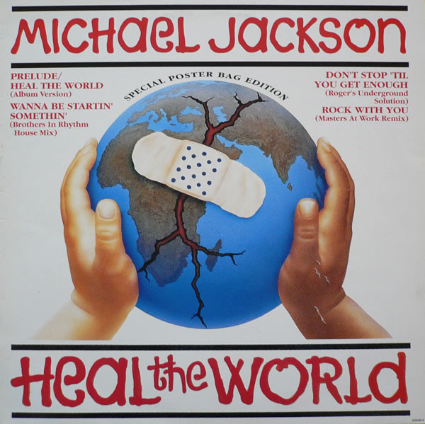 HEAL THE WORLD  12' MAXI UK + POSTER / MICHAEL JACKSON  - CD - RECORDS -  BOUTIQUE VINYLES