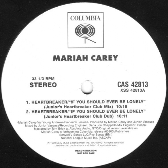 HEARTBREAKER  MAXI 45T SAMPLER USA/ MARIAH CAREY-CD-DISQUES-VINYLES-SHOP-COLLECTORS-STORE
