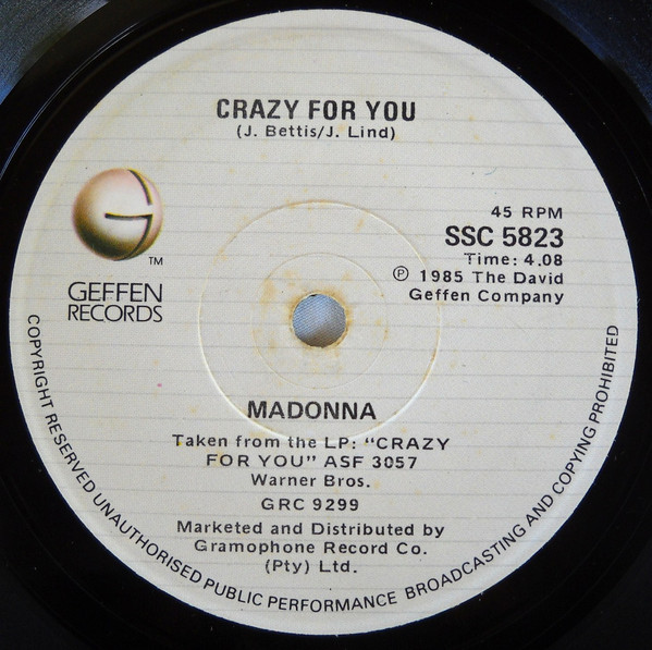 CRAZY FOR YOU   45T AFRIQUE  /  MADONNA-CD-DISQUES-RECORDS-BOUTIQUE VINYLES-SHOP-COLLEC