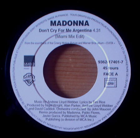 DON'T CRY  45T SAMPLER FRANCE /  MADONNA-CD-DISQUES-RECORDS-BOUTIQUE VINYLES-SHOP-COLLECTORS-STORE