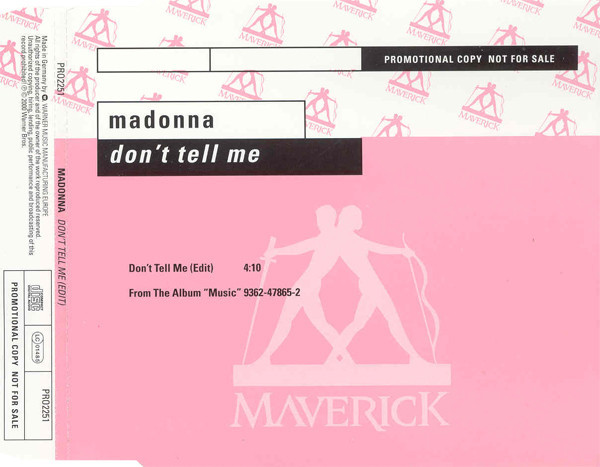 DON'T TELL ME CD SAMPLER ALLEMAGNE    MADONNA-CD-DISQUES-RECORDS-VINYLES-SHOP-COLLECTORS-STORE