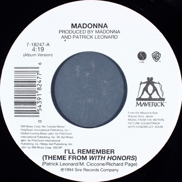 I'll REMEMBER 45T USA   MADONNA-CD-DISQUES-RECORDS-BOUTIQUE VINYLES-SHOP-COLLECTORS