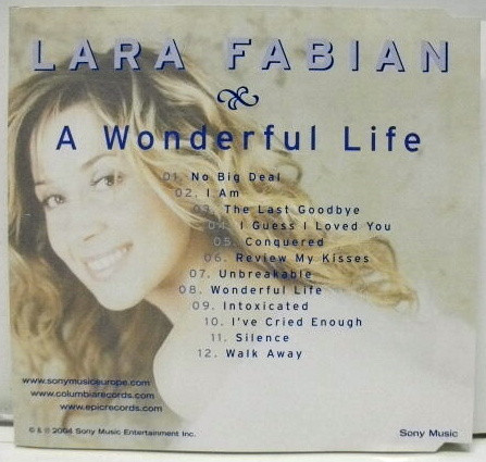 A WONDERFUL LIFE CD SAMPLER LARA FABIAN-BOUTIQUE-VINYLES-DISQUES-RECORDS-DISQUES-VINYLES-CD- SHOP-
