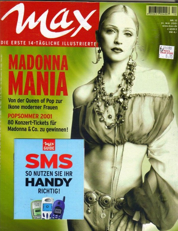 MAX MAGAZINE ALLEMAGNE 2001  MADONNA-CD-DISQUES-RECORDS-BOUTIQUE VINYLES-SHOP-STORE-LPS-VINYLS