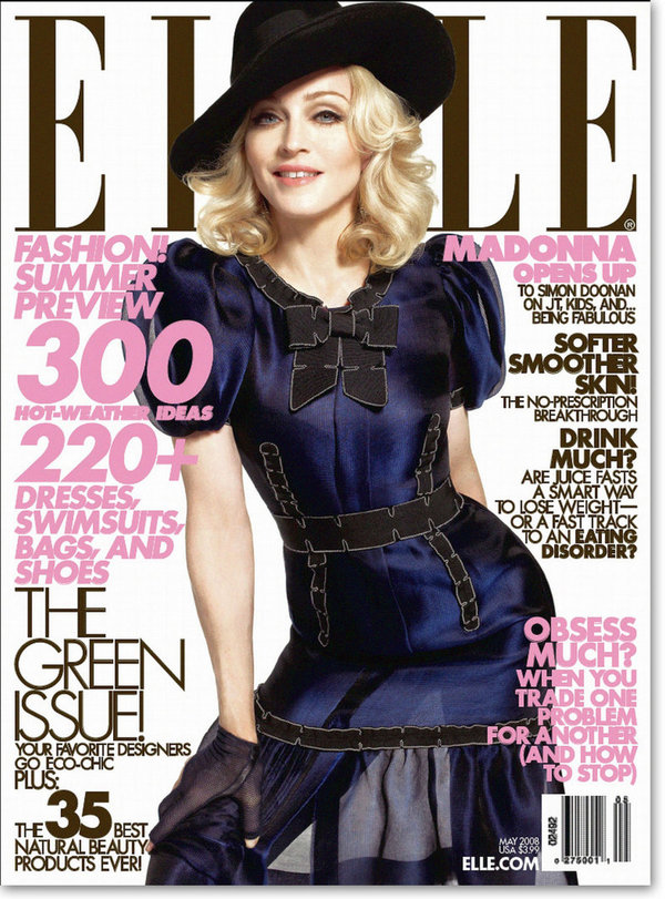 ELLE   MAGAZINE USA 2008  MADONNA-CD-DISQUES-RECORDS-BOUTIQUE VINYLES-SHOP-STORE-LPS-VINYLS
