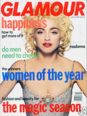 GLAMOUR  MAGAZINE 1990 USA  MADONNA-CD-DISQUES-RECORDS-BOUTIQUE VINYLES-SHOP-STORE-LPS-VINYLS