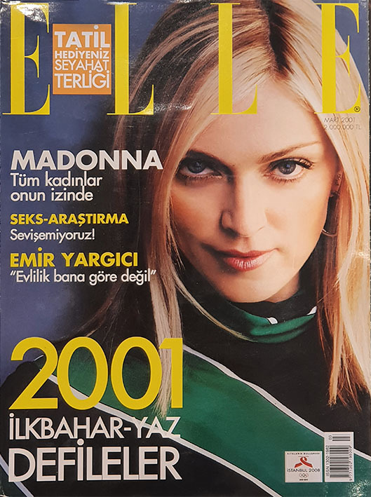 ELLE MAGAZINE  2001  TURQUIE  MADONNA-CD-DISQUES-RECORDS-BOUTIQUE VINYLES-SHOP-STORE--VINYL